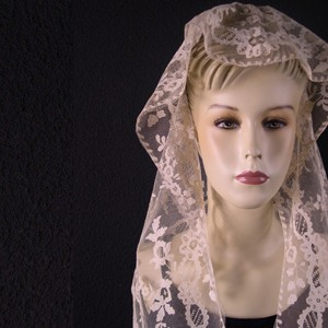 Antique lace mantilla from Spain 45 x 183 cm #A1101