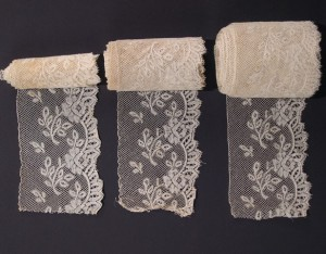 Antique lace strip from Valenciennes (France) three pieces 1.212 x 8 cm #A1919