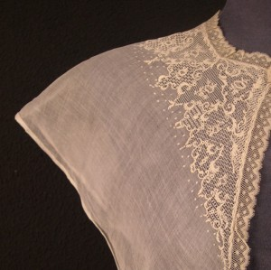 Antique lace shawl from France  #A0803